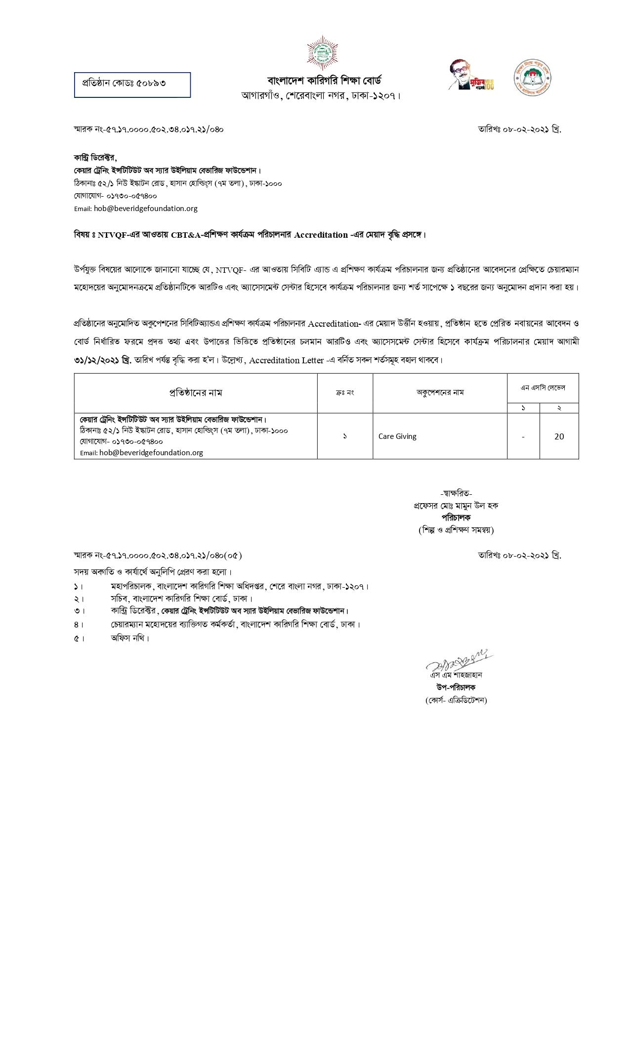 BTEB Certificate of SWBF